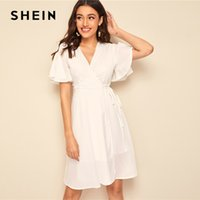 3db16a2ad0 SHEIN White Split Butterfly Sleeve Surplice Neck Wrap Knotted Dress Women  Summer Solid V Neck Fit and Flare Boho Short Dresses