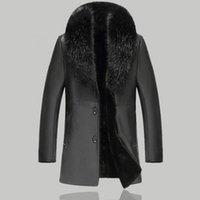 cuello de piel largo abrigo hombres al por mayor-Hombres de moda de cuello de piel grande de invierno cálido chaqueta de cuero 2018 delgado largo de un solo pecho Slim Coats motocicletas chaquetas de cuero