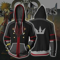 Wholesale sora cosplay online - New Kingdom Hearts Sora Zipper Jacket D Print Men Women Hoodie Sweatshirt Casual Cosplay Coat YE25