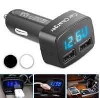 voltímetro iphone venda por atacado-Novo Dual USB Portas 3.1A Carregador de Isqueiro Do Carro 12 V / 24 V Digital LED Voltímetro Frete Grátis