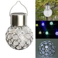 lumière solaire ronde achat en gros de-Le ballon extérieur rotatif solaire imperméable solaire de camping de jardin de LED s'allume Description: L'ampoule pend d'un clip qui attache