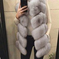 ingrosso giacca di pelliccia blu del faux-Moda caldo autunno e inverno Faux Fur Coat Giacca Royal Blue donna artificiale pelliccia Vest senza maniche Casaco Feminino