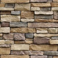 3d wallpapers alfandegários venda por atacado-10 m 3d adesivos de parede papel de parede tijolo efeito de pedra à prova d 'água auto-adesivo papel de parede de decoração para casa sala de estar papel de parede 3d