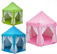 ingrosso tende di principessa indoor-Grande principessa Castle Tulle Child House Gioco Selling Tent Yurt Creativo Sviluppare Outdoor Indoor Lights Balls Toys