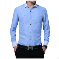 Discount large polka dot shirt 2017 Men Shirt Male Dress Shirts Men'S Fashion Casual Long Sleeve Business Formal Shirt Camisa Social Masculina Large Size M-5XL