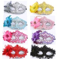 Wholesale black lace masquerade ball masks resale online - Fashion Women Sexy Black Lace Flower Half Face Eye Mask Party Dance Ball Masquerade Halloween Fancy Dress Venetian Costumes