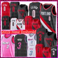 ingrosso pallacanestro jersey rosa-NCAA Damian Lillard 0 Jersey Dwyane Wade 3 C.J. 3 McCollum pallacanestro maglie Università Nero Rosso Bianco Rosa Viola 0