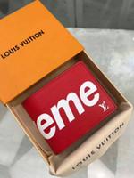 credito del logo al por mayor-Con el logotipo de la caja. Cartera delgada de cuero rojo Premium de Paris.
