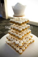 Wholesale wedding top cake resale online - SQUARE TIER ROUND TOP ACRYLIC CUPCAKE PARTY WEDDING CAKE STAND wedding decoration