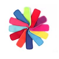 Wholesale solid cream resale online - Neoprene Popsicle Holder Solid Colors Pop Ice Sleeve Freezer Edge Covering cm cm Summer Ice Cream Beach Kitchen Tools For Kids C7909