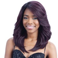 pelucas al por mayor-2019 nueva peluca negro y púrpura estilo híbrido largo pelo rizado moda realista estilo caliente cubierta de pelo