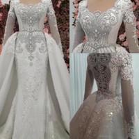 Wholesale sexy wedding dresses online - Luxury Mermaid Beaded Crystals Wedding Dresses With Detachable Skirt Vintage Long Sleeve Rhinestones Long Dubai Arabic Robe Gown BC1366
