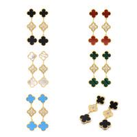 ingrosso gioielli di diamanti onyx-moda conchiglia naturale onice nero malachite V C Orecchini lunghi misura tre fiore diamante orecchini gioielli designer orecchini a cerchio da donna
