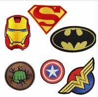 ingrosso patch di ferro di batman-Cartoon Kids Batman Hulk Superman Supereroe Capitan Iron On Patch Abbigliamento Patch per abbigliamento Ragazzi ricamati Patch Vestiti