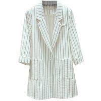 chaquetas de verano de rayas para mujer al por mayor-Chaqueta de mujer elegante verano 2019 nueva moda a rayas siete mangas traje pequeño chaqueta femenina