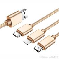 usb multi charge cable venda por atacado-3 em 1 cabo usb para xiaomi multi 2.4a rápido carregador de carregamento trançado tipo usb c tipo c micro cabo usb para samsung s10 s10e telefone móvel