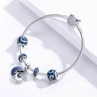 Wholesale starry sky necklace for sale - Group buy fit original bracelet charm sterling silver beads blue starry sky necklace pendant for women fashion jewelry making