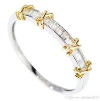 elmas sonsuzluğu toptan satış-Infinity Marka Yeni Lüks Takı Saf 100% 925 Ayar Gümüş Ayrı Altın Prenses Kesim Beyaz Topaz Pırlanta Düğün Band Yüzük Kadınlar için