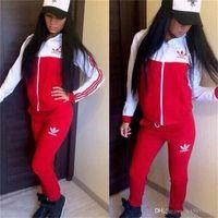 linda sudadera roja con capucha mujer al por mayor-2018 chándal mujer traje deportivo con capucha sudadera + pantalón para correr Femme Marque Survetement Sportswear 2pc Set 4 Color S-XL