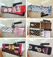 kravatlar için eşarplar toptan satış-Marka ipek kravat moda klasik kadınlar 100% ipek kafa marka saç bandı tasarımcı eşarp küçük şerit baskılı ipek eşarp 120 * 8 cm