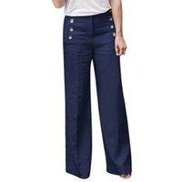 düğme bacağı toptan satış-Kadınlar 2019 Moda Yeni Keten Pamuk Geniş Bacak Pantolon Katı Rahat Yüksek Bel Tam uzunlukta Pantolon Düğmeleri Nefes Pantolon