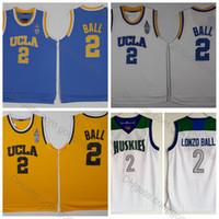 camisas blancas de china al por mayor-Camisetas de bola de Lonzo de calidad superior # 2 UCLA Bruins Camisetas de baloncesto de la universidad Cosido Azul claro Blanco Chino Hills Huskies Escuela secundaria Camisetas