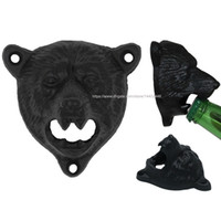 outils grizzly achat en gros de-20pcs fonte support mural monté Grizzly Bear Head Beer Soda Cap ouvre-bouteille ouvreurs Hanger Pub Lodge Kitchen Outils à