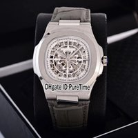Wholesale mens white leather belt strap resale online - New Classic Steel Case White Skeleton Big Logo Asia Automatic Mens Watch Gray Leather Strap Watches Puretime Colos Pb307b2