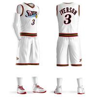 conjuntos de camisas de basquete venda por atacado-2018 Meninos Juventude Allen Iverson Conjuntos de Camisola de Basquete Uniforme Adulto camisas Esportivas roupas Respirável shorts de basquete jerseys DIY Personalizado