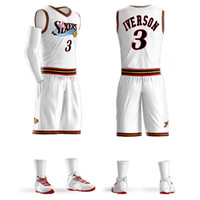 Wholesale uniforms basketball jerseys resale online - 2018Men Youth Allen Iverson Basketball Jersey Sets Uniform kits Adult Sports shirts clothing Breathable basketball jerseys shorts DIY Custom