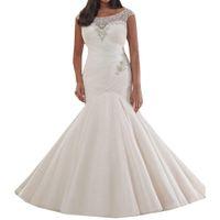 vestidos de rede macia venda por atacado-Vestido de noiva de luxo Cristal Frisado vestido de noiva 2019 Bordado e Plissado Net Macio Plus Size Sereia Vestido De Noiva boho vestido noiva