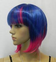 Wholesale straight pink cosplay wig for sale - WIG shipping Hazuki Nagisa Kise Ryota Unisex Short purple and pink Cosplay Wig