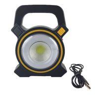Solar COB Camping Light USB Waterproof Searchlight Overhaul Projection Light LED Portable Light Gray 1 pc