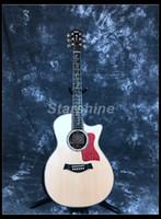 sillín de guitarra de hueso al por mayor-Guitarra acústica Starshine de alta calidad ZZ-TY14 40 Diapasón de ébano Tapa sólida de abulón Fijación Incrustada Sillines de tuerca de hueso