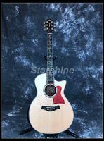 griffbrett inlay gitarre großhandel-Starshine Hochwertige Akustikgitarre ZZ-TY14 40 Ebenholz Griffbrett Solid Top Abalone BindingInlay Bone Nut Sättel