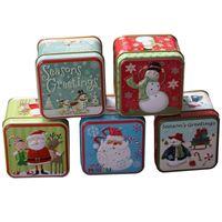 contenedor cuadrado de estaño al por mayor-Square Candy Jar Christmas Candy Box Gofrado de hojalata Latas vacías Cookie Gift Holder Contenedor Decoraciones navideñas para el hogar