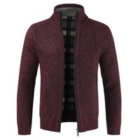 sweater sweater venda por atacado-Homens Cor Sólida Gola Cardigan Sweater Grosso Zip Fino Casaco De Malha Casaco Frete Grátis 2019
