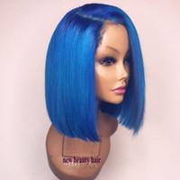 mavi peruk yüksek kalite toptan satış-Yüksek kaliteli yan kısmı doğal kısa mavi peruk cosplay Bob Dantel Ön Peruk Bebek Saç Düz Frontal Ile Ön Koparıp peruk