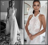 Wholesale wedding dress chapel length tulle train for sale - Group buy halter embellished ruched bodice lace sheath a line wedding dresses New elihav sasson spring sleeveless chapel train wedding gowns