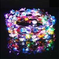 Wholesale flashing led flower for sale - Group buy Flashing LED Hairbands strings Glow Flower Crown Headbands Light Party Rave Floral Hair Garland Luminous Wreath Hair Accessories