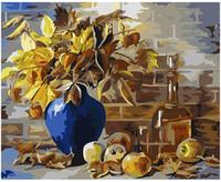 flores amarillas pintura abstracta al por mayor-Kits de pintura al óleo para adultos pintados a mano Pintura de bricolaje por números-Flor abstracta amarilla 16