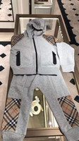 Wholesale baby girl hip hop clothes resale online - boy clothe gary Hip hop style clothing two pieces set baby boy girl designer coat pants cm brand clother for child