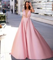 плюс размер бежевый невесты платья оптовых-Sexy Back Pink A-Line Вечерние Платья Длинные Спагетти Спинки Формальное Вечернее Платье Плюс Размер Платья для Подружек Невесты