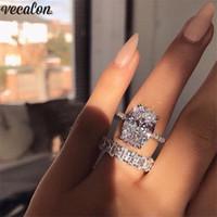gümüş alyans yüzük setleri toptan satış-Vecalon Klasik 925 Gümüş yüzük seti Oval kesim 3ct Elmas Cz Nişan düğün Band yüzükler kadınlar için Gelin bijoux