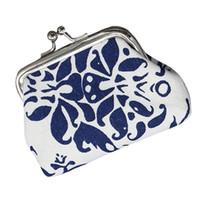 ingrosso borse portafogli etnici-Portafoglio donna retrò in pelle blu e bianca etnica borsa mini portafoglio donna in vera pelle