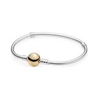 круглые серебряные застежки оптовых-New 925 Sterling Silver Round Gold Clasp Bracelets & Bangles Fit European Charm  For Women Gift Fashion Diy Jewelry