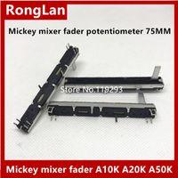 ingrosso giunto del potenziometro-[BELLA] Mickey mixer fader potenziometro 75MM 7.5CM lungo doppio- A10K A20K A50K A10KX2 B10K B20K B50K B100K Potenziometro Stereo Slide - 4PCS
