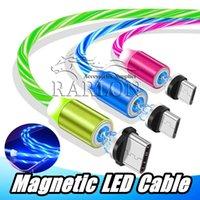 светодиодные usb-кабели оптовых-Новое поступление магнитный светодиодный свет зарядный кабель для Micro USB C Type-C зарядное устройство кабели для передачи данных 2.1 A для Samsung S10 Android