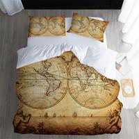 ingrosso cuscini di dimensioni queen-Copripiumini Twin FUll Queen King Size Copripiumini Vintage map Stampato con Coppia Federe Coprire 3 PZ set di biancheria da letto