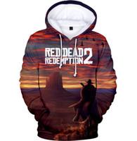 erkek çocuklar kırmızı sweatshirt toptan satış-3-20years öğrenci KıRMıZı ÖLÜ REDEMPIYON 2 3D Sonbahar Kız / Erkek Hoodies Anime Hooides Tişörtü Fanlar Çocuklar Serin Hoodies Baskı